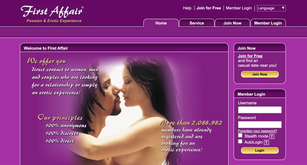 FirstAffair ana sayfası