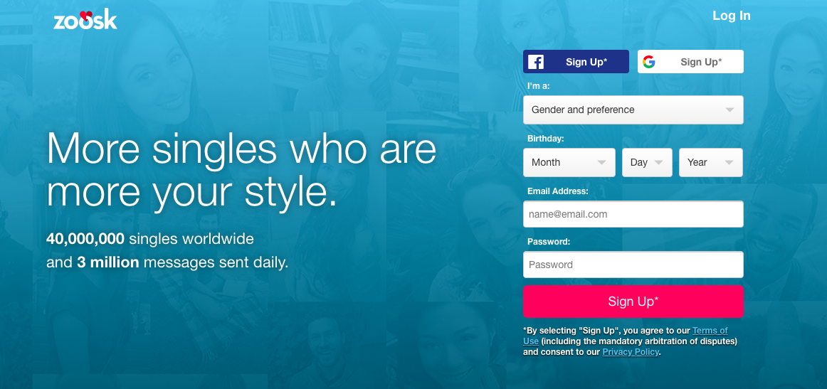 main page zoosk