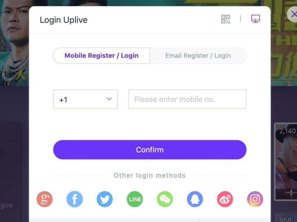 Up.live create account