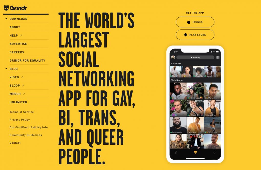 Grindr main page new